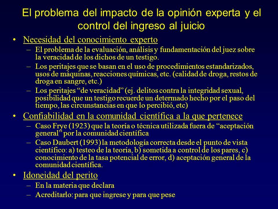 El problema del impacto de la opinión experta y el control del ingreso al juicio