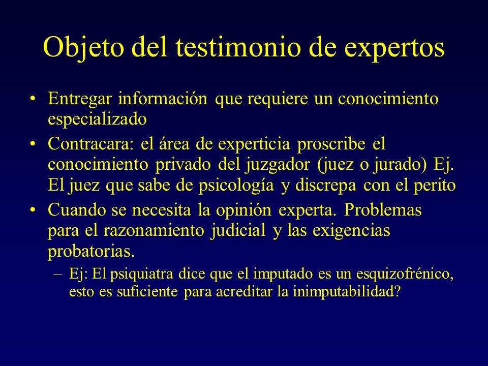 Objeto del testimonio de expertos