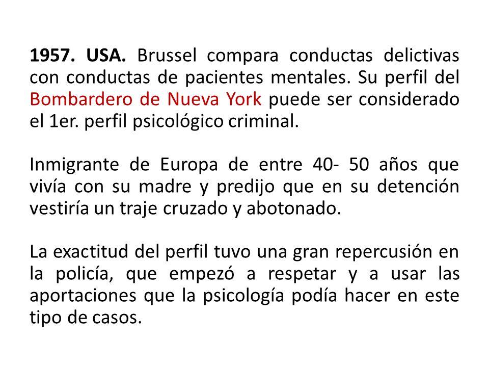 1957. USA. Brussel compara conductas delictivas con conductas de pacientes mentales.