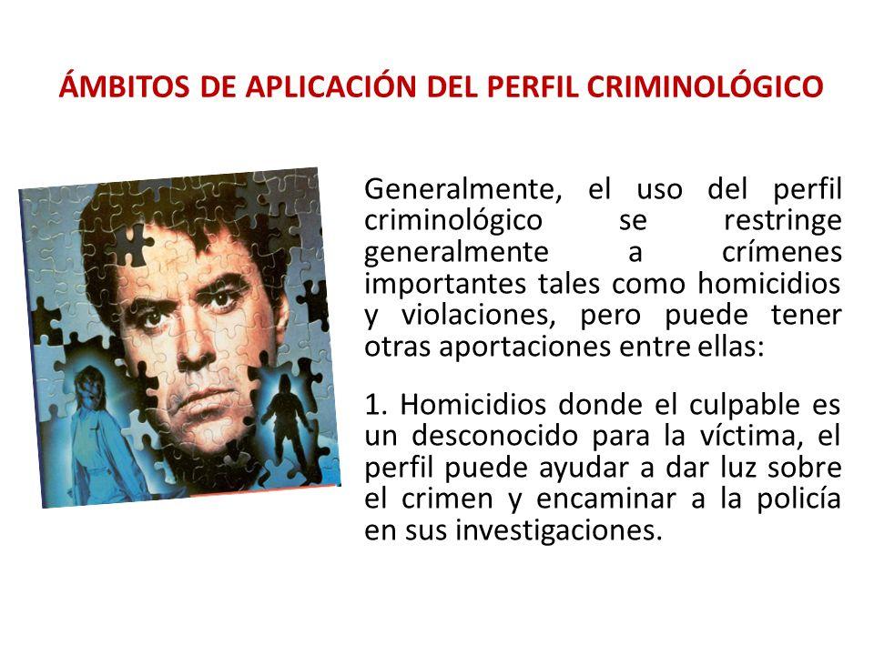 ÁMBITOS DE APLICACIÓN DEL PERFIL CRIMINOLÓGICO