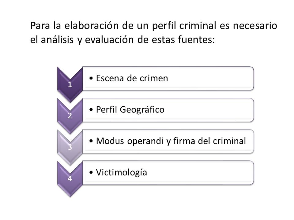 Para la elaboración de un perfil criminal es necesario el análisis y evaluación de estas fuentes: