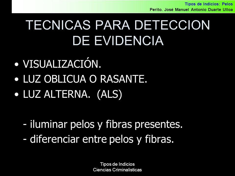 TECNICAS PARA DETECCION DE EVIDENCIA