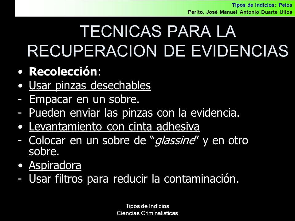 TECNICAS PARA LA RECUPERACION DE EVIDENCIAS