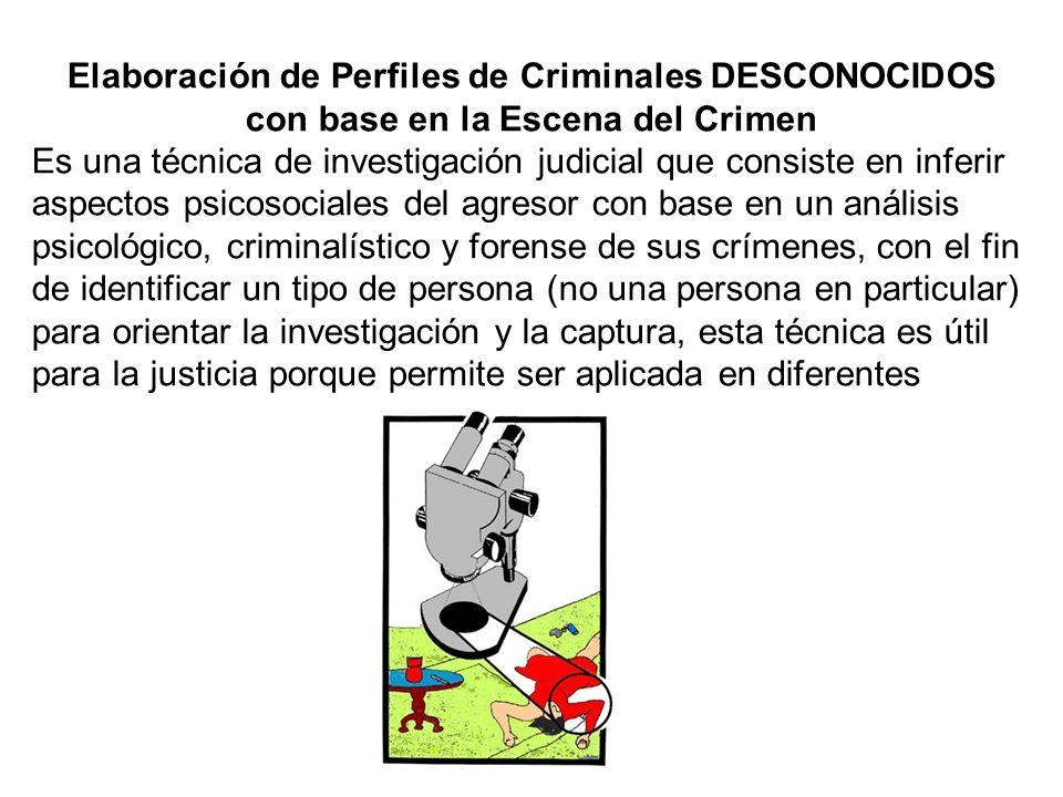 Elaboración de Perfiles de Criminales DESCONOCIDOS con base en la Escena del Crimen