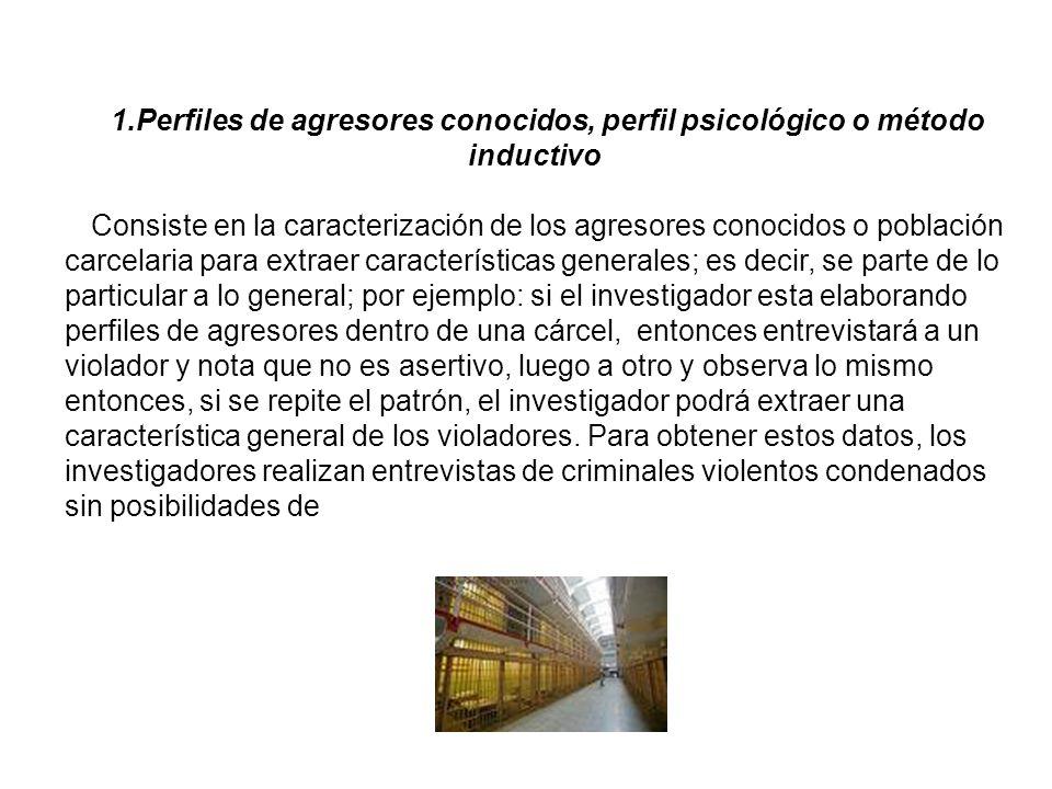 1.Perfiles de agresores conocidos, perfil psicológico o método inductivo