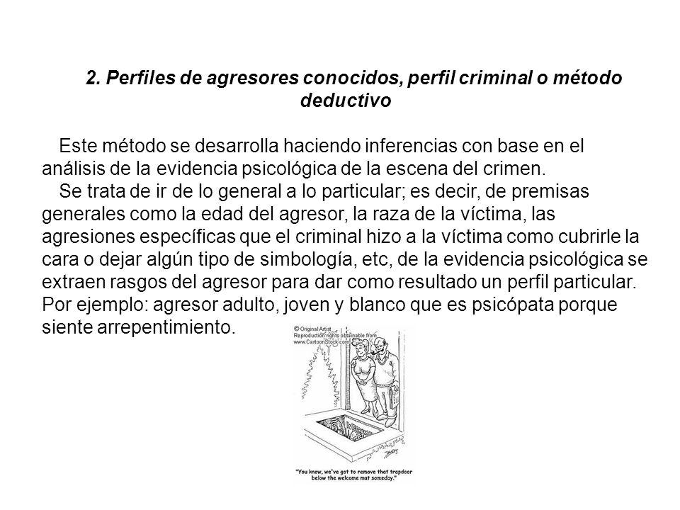2. Perfiles de agresores conocidos, perfil criminal o método deductivo
