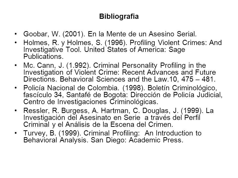 Bibliografia Goobar, W. (2001). En la Mente de un Asesino Serial.