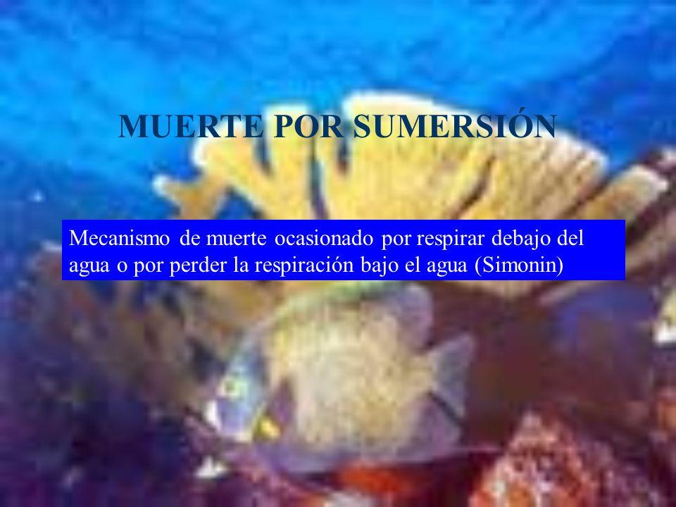 MUERTE POR SUMERSIÓNMecanismo de muerte ocasionado por respirar debajo del agua o por perder la respiración bajo el agua (Simonin)
