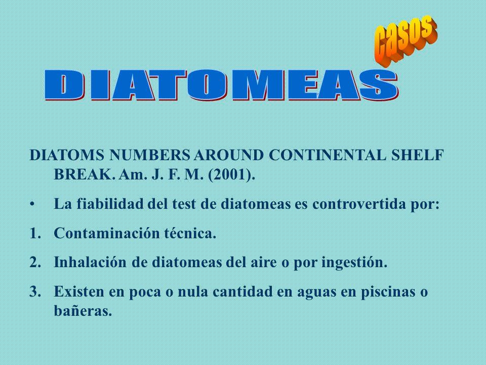 casosDIATOMEAS. DIATOMS NUMBERS AROUND CONTINENTAL SHELF BREAK. Am. J. F. M. (2001). La fiabilidad del test de diatomeas es controvertida por: