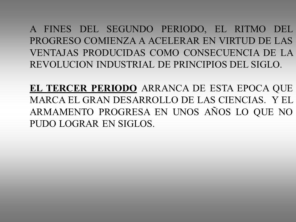 A FINES DEL SEGUNDO PERIODO, EL RITMO DEL PROGRESO COMIENZA A ACELERAR EN VIRTUD DE LAS VENTAJAS PRODUCIDAS COMO CONSECUENCIA DE LA REVOLUCION INDUSTRIAL DE PRINCIPIOS DEL SIGLO.