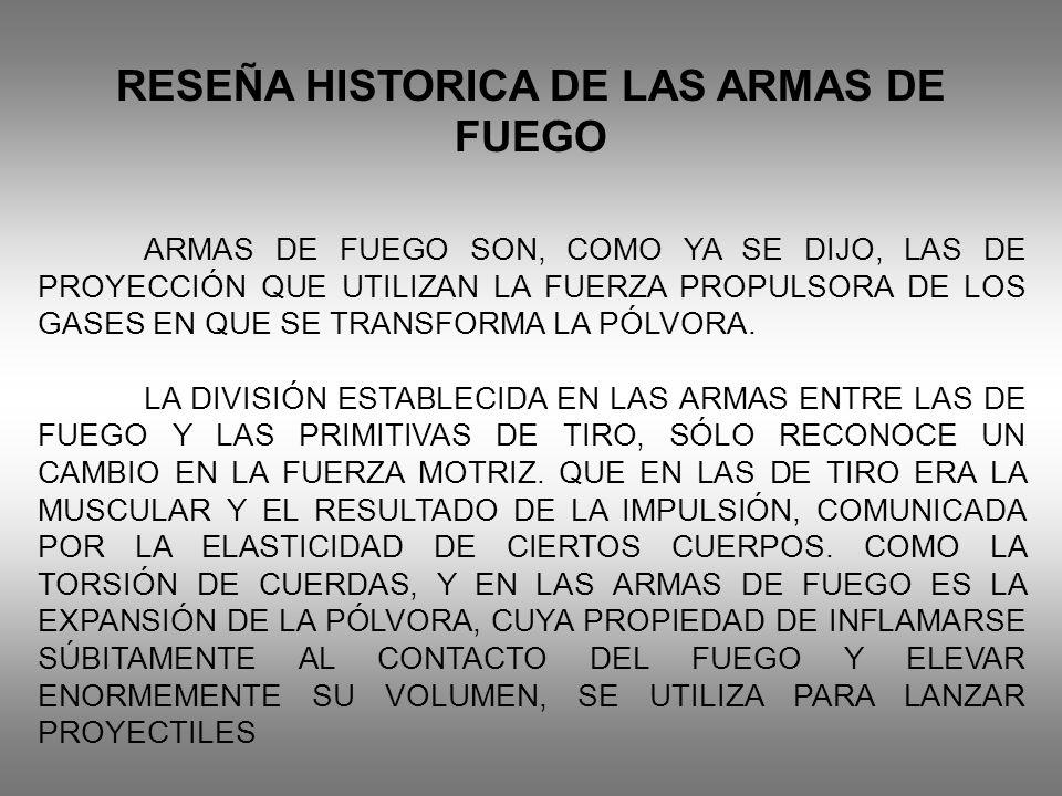 RESEÑA HISTORICA DE LAS ARMAS DE FUEGO