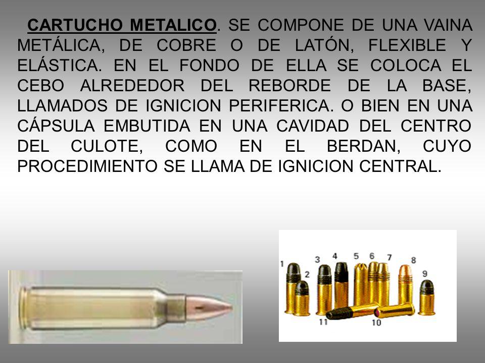 CARTUCHO METALICO. SE COMPONE DE UNA VAINA METÁLICA, DE COBRE O DE LATÓN, FLEXIBLE Y ELÁSTICA.