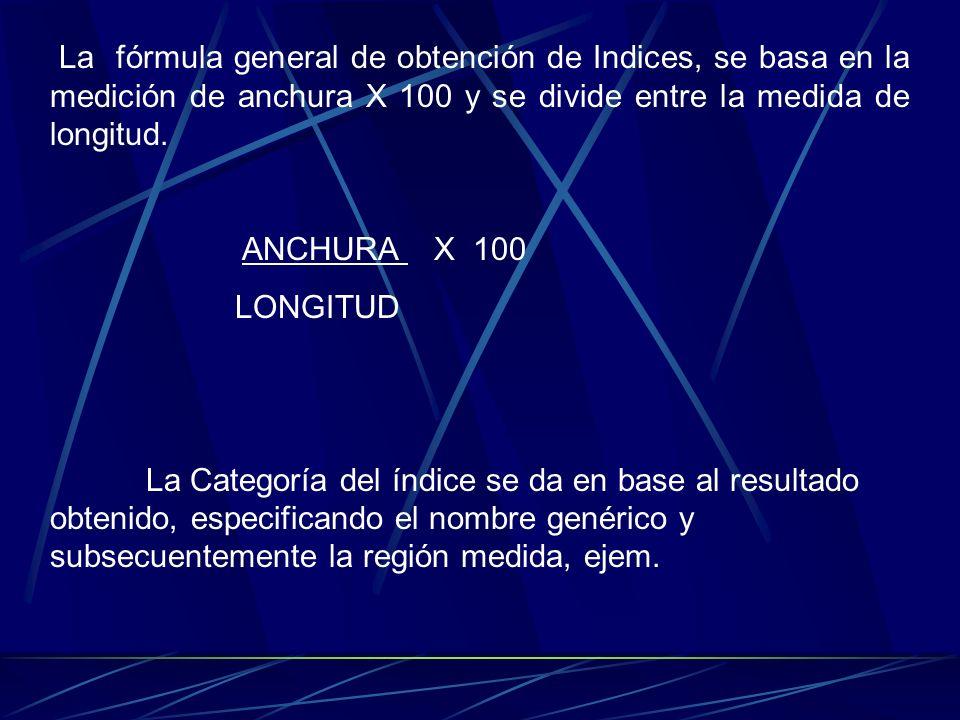 La fórmula general de obtención de Indices, se basa en la medición de anchura X 100 y se divide entre la medida de longitud.
