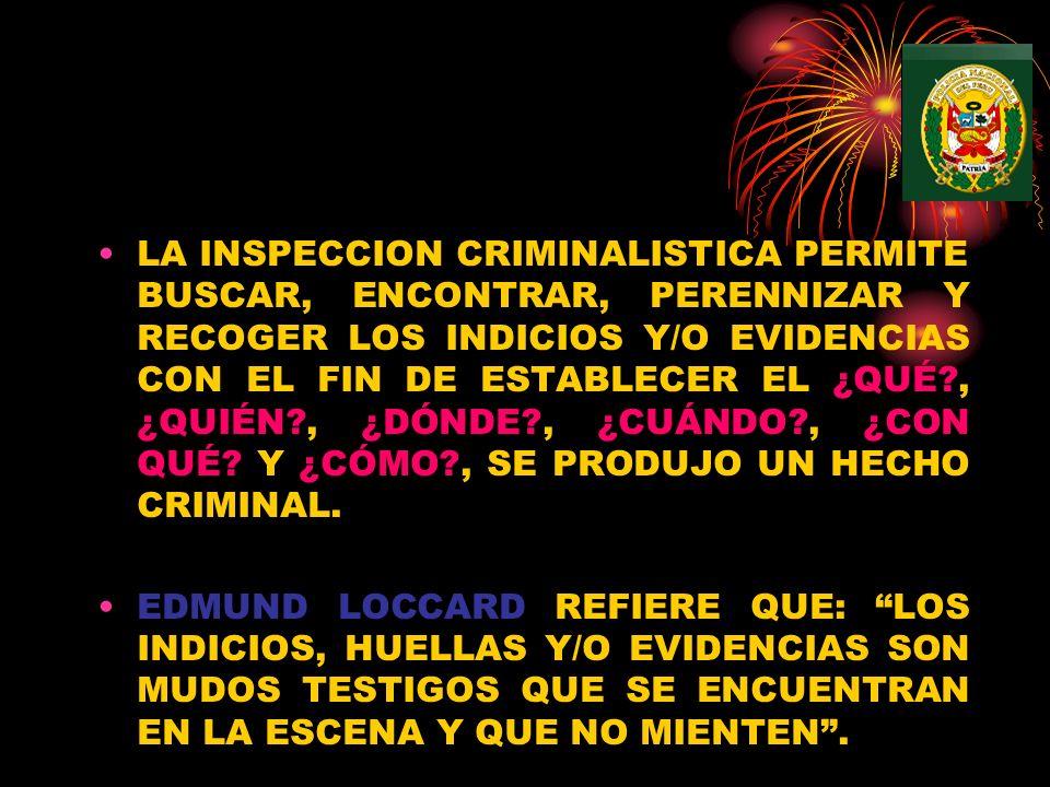 LA INSPECCION CRIMINALISTICA PERMITE BUSCAR, ENCONTRAR, PERENNIZAR Y RECOGER LOS INDICIOS Y/O EVIDENCIAS CON EL FIN DE ESTABLECER EL ¿QUÉ , ¿QUIÉN , ¿DÓNDE , ¿CUÁNDO , ¿CON QUÉ Y ¿CÓMO , SE PRODUJO UN HECHO CRIMINAL.