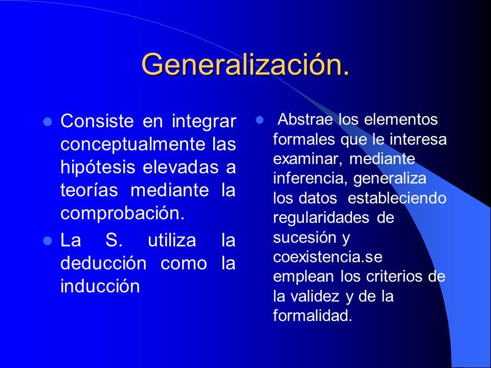 Generalización. Consiste en integrar conceptualmente las hipótesis elevadas a teorías mediante la comprobación.