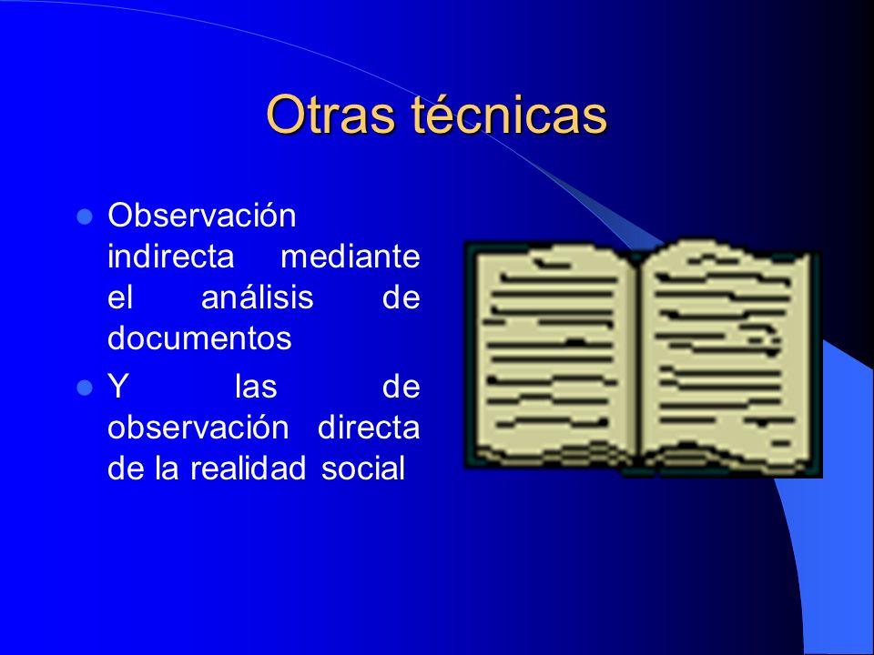 Otras técnicas Observación indirecta mediante el análisis de documentos.