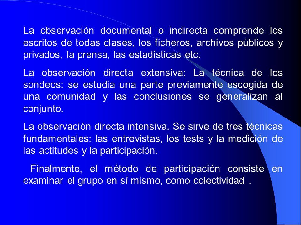 La observación documental o indirecta comprende los escritos de todas clases, los ficheros, archivos públicos y privados, la prensa, las estadísticas etc.