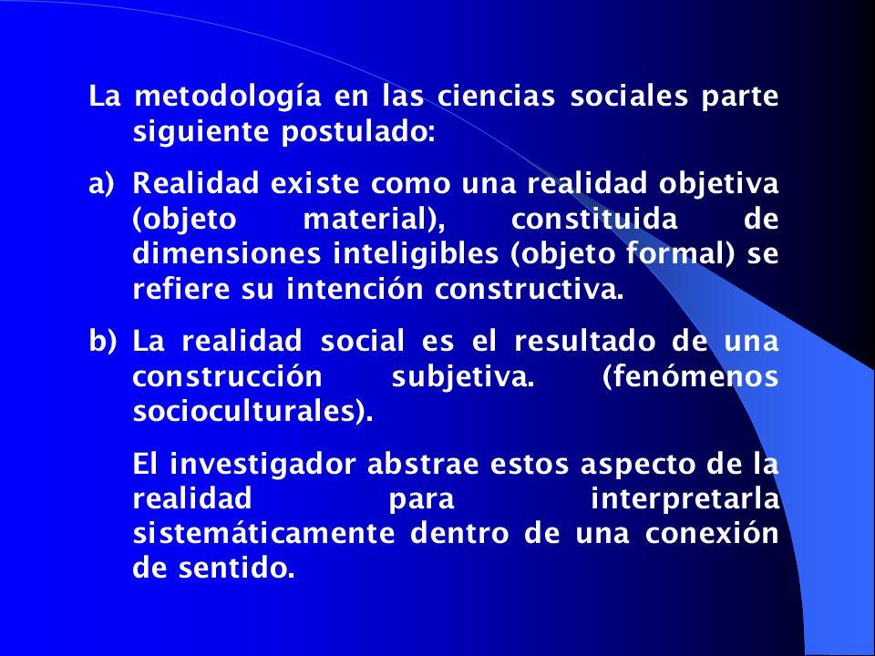 La metodología en las ciencias sociales parte siguiente postulado: