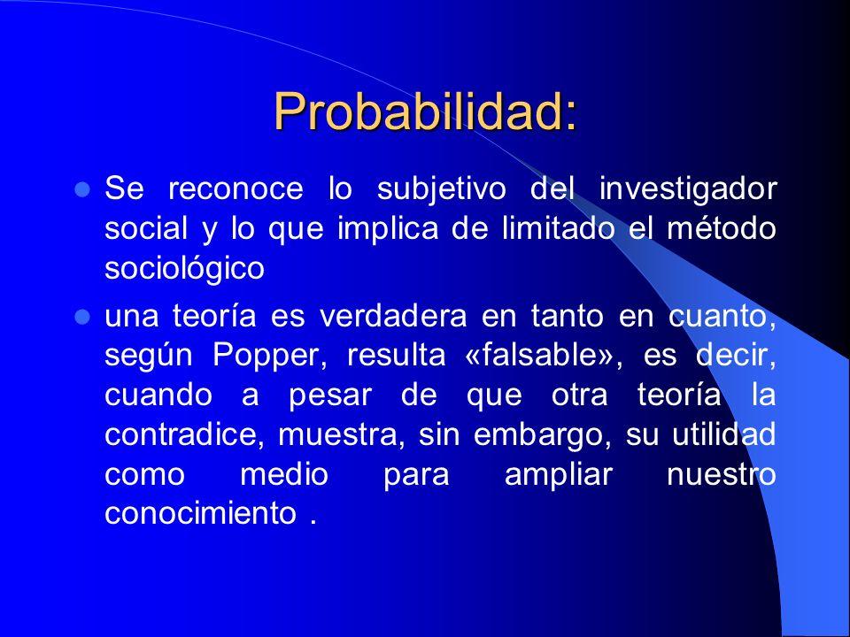 Probabilidad: Se reconoce lo subjetivo del investigador social y lo que implica de limitado el método sociológico.