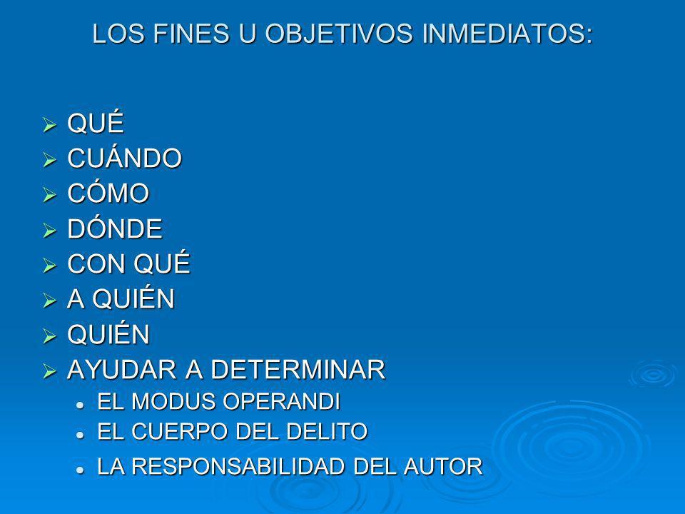 LOS FINES U OBJETIVOS INMEDIATOS:
