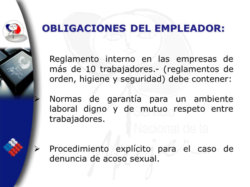 OBLIGACIONES DEL EMPLEADOR: