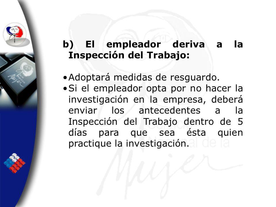 b) El empleador deriva a la Inspección del Trabajo: