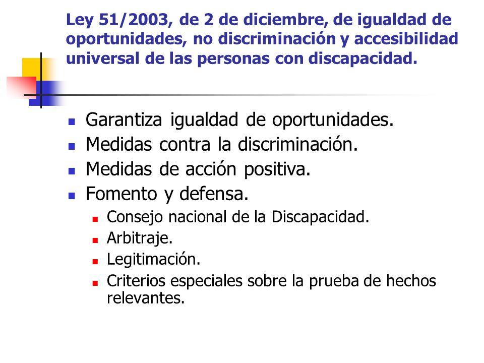 Garantiza igualdad de oportunidades. Medidas contra la discriminación.