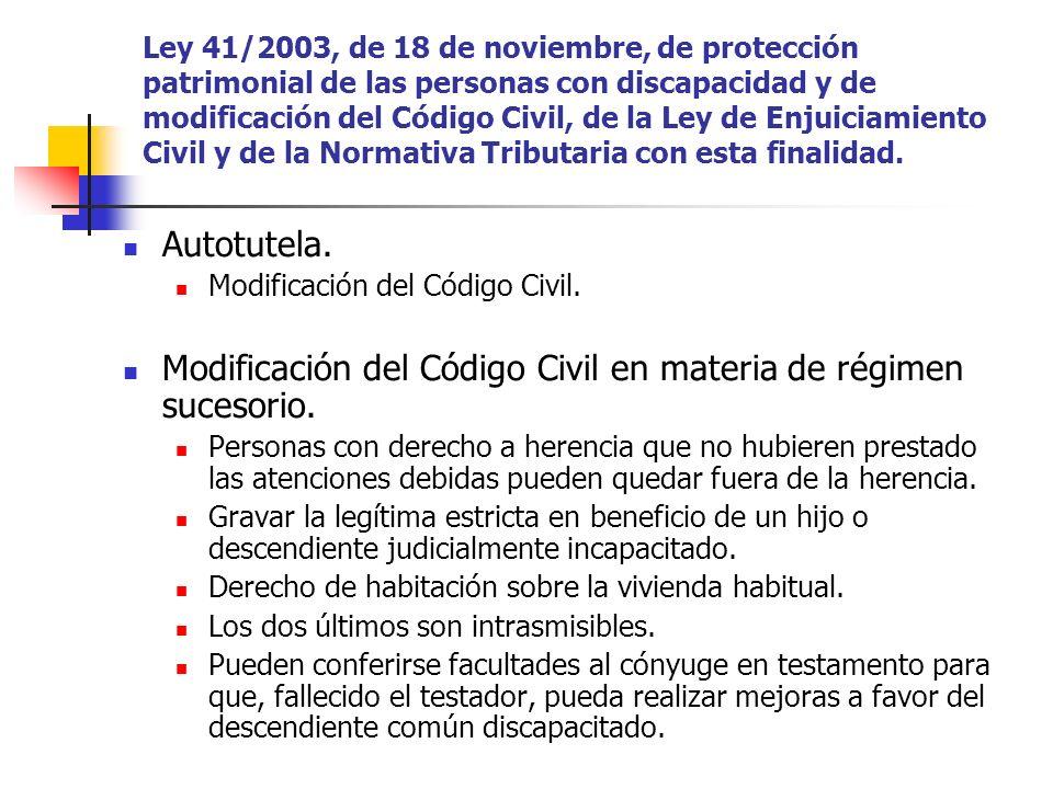 Modificación del Código Civil en materia de régimen sucesorio.