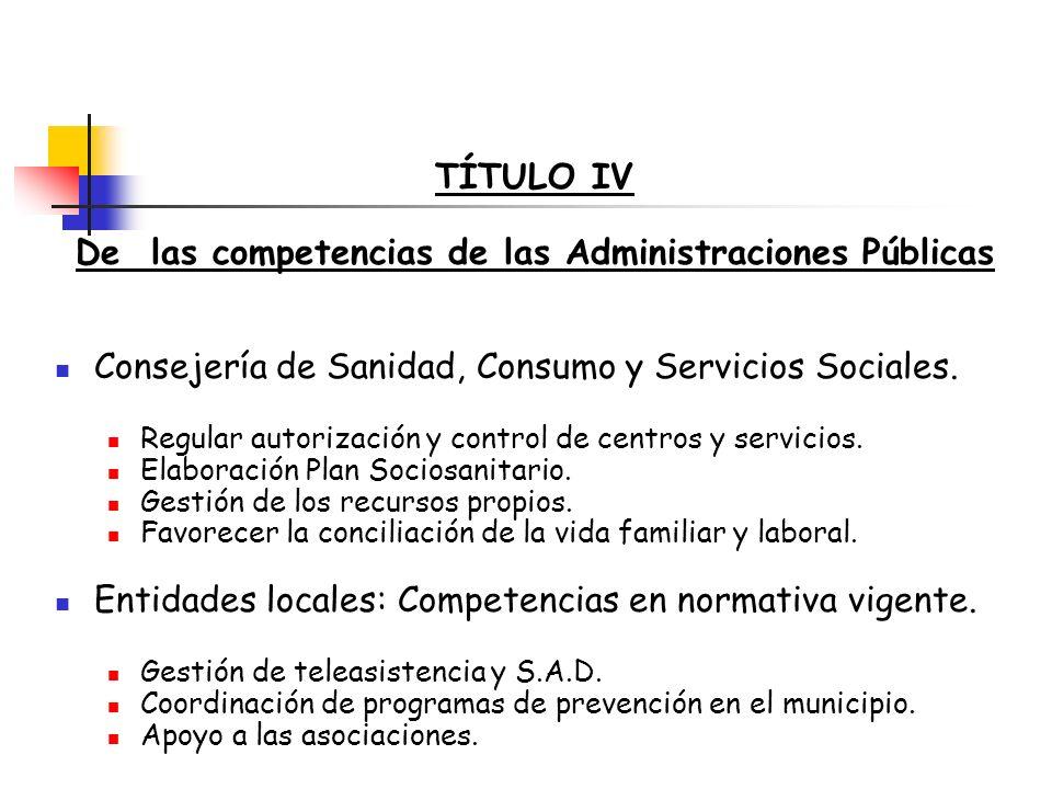 De las competencias de las Administraciones Públicas