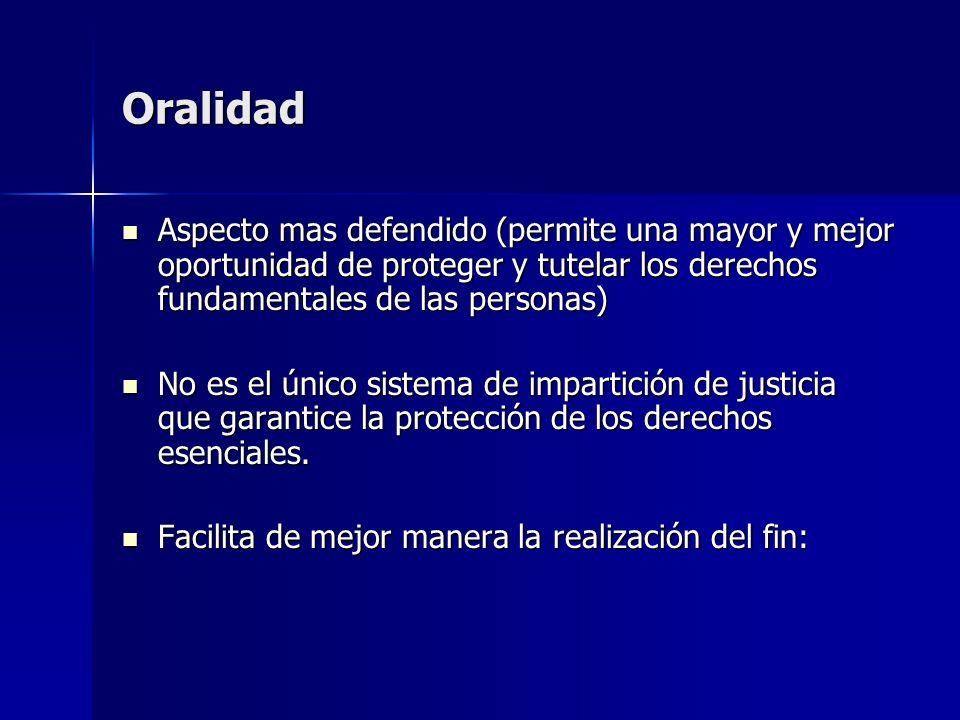 Oralidad Aspecto mas defendido (permite una mayor y mejor oportunidad de proteger y tutelar los derechos fundamentales de las personas)