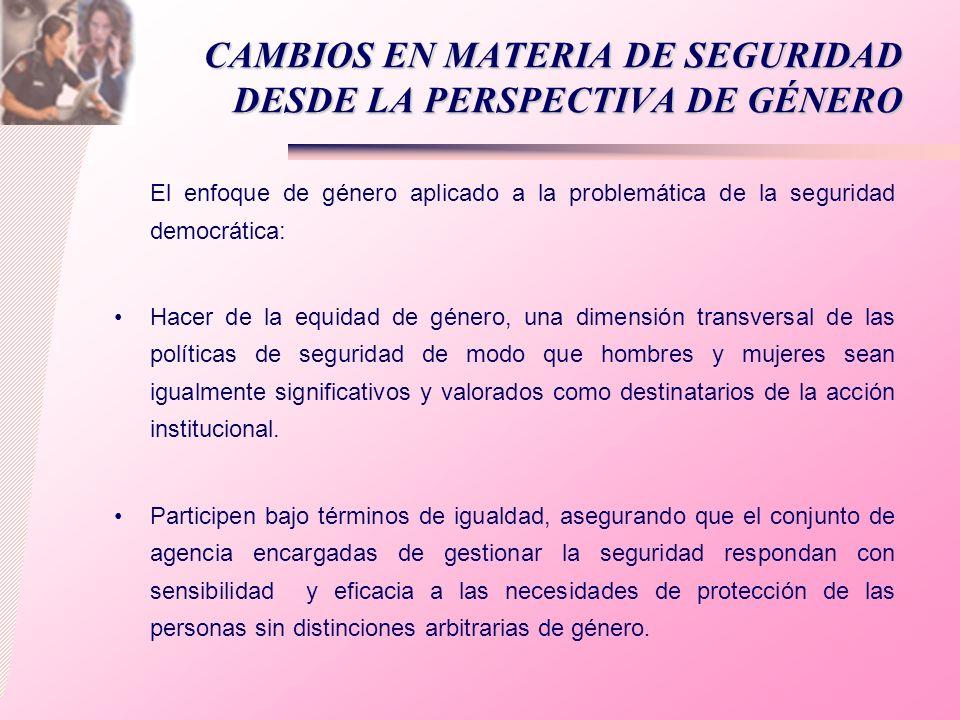 CAMBIOS EN MATERIA DE SEGURIDAD DESDE LA PERSPECTIVA DE GÉNERO
