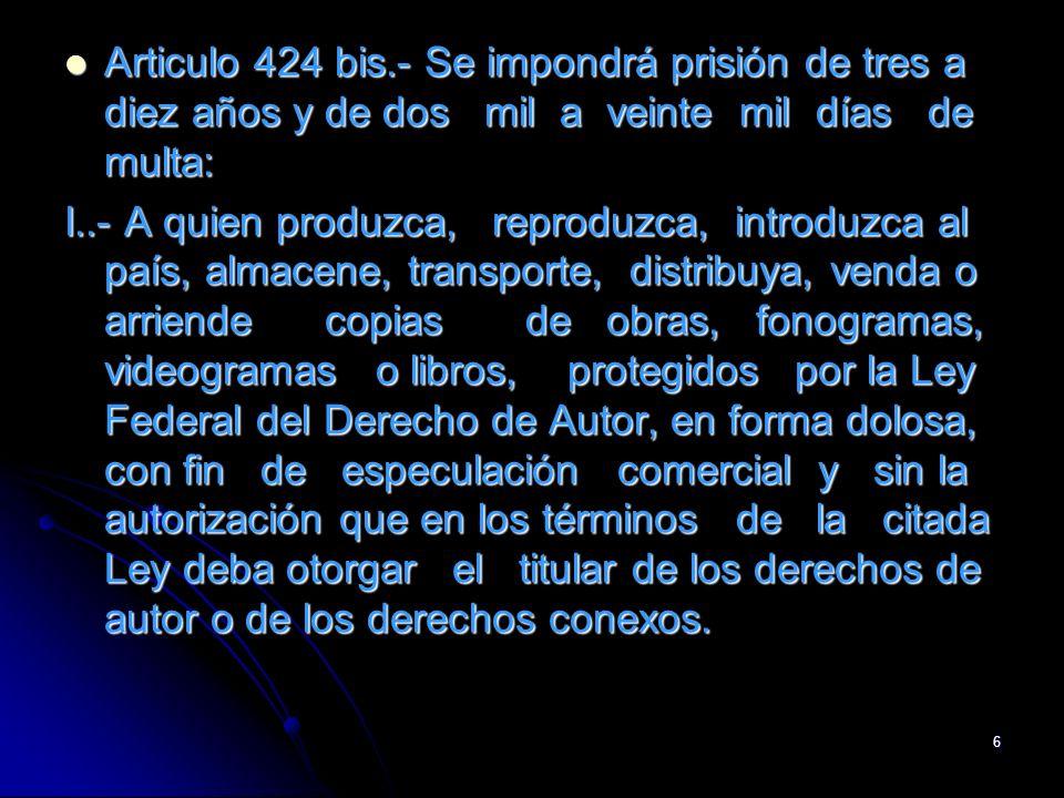 Articulo 424 bis.- Se impondrá prisión de tres a diez años y de dos mil a veinte mil días de multa:
