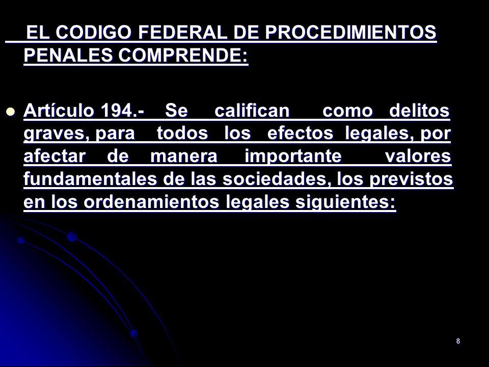 EL CODIGO FEDERAL DE PROCEDIMIENTOS PENALES COMPRENDE: