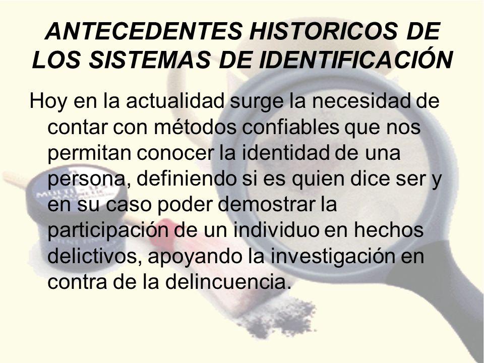 ANTECEDENTES HISTORICOS DE LOS SISTEMAS DE IDENTIFICACIÓN