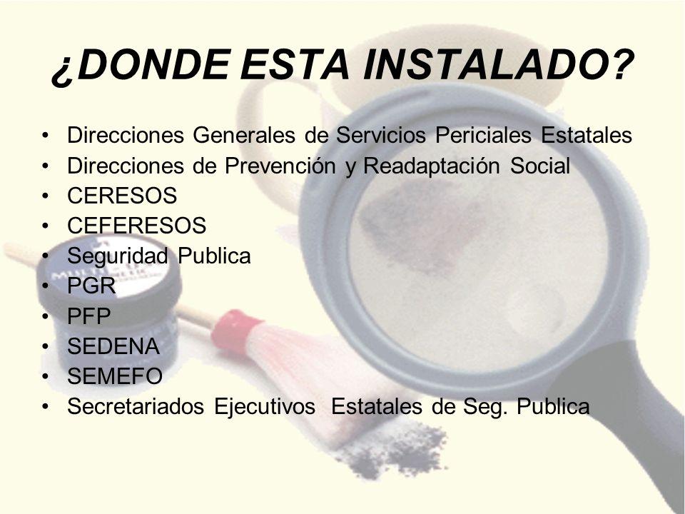 ¿DONDE ESTA INSTALADO Direcciones Generales de Servicios Periciales Estatales. Direcciones de Prevención y Readaptación Social.