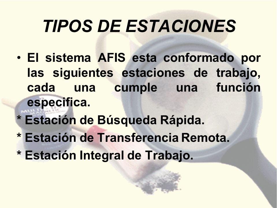 TIPOS DE ESTACIONES El sistema AFIS esta conformado por las siguientes estaciones de trabajo, cada una cumple una función especifica.
