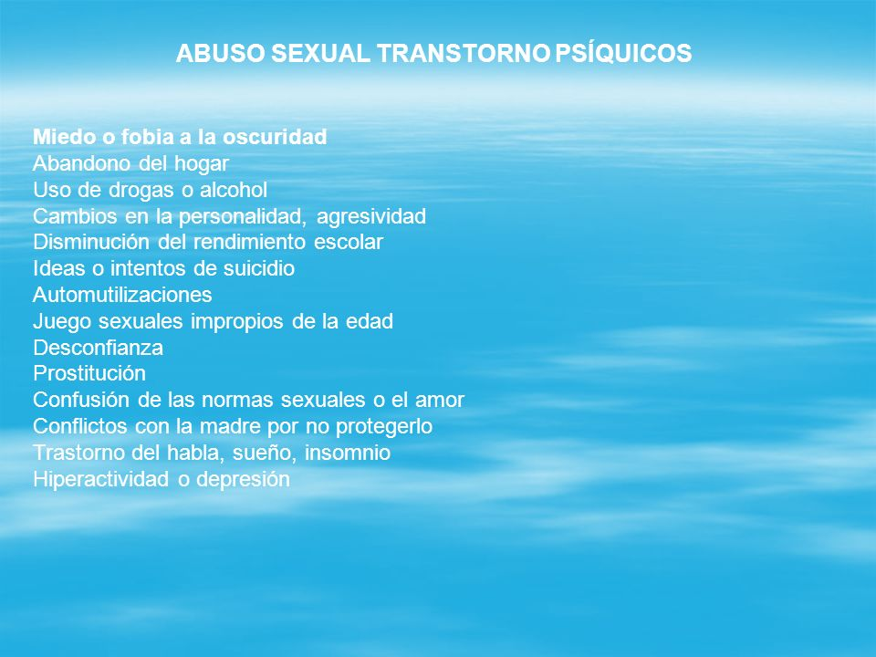 ABUSO SEXUAL TRANSTORNO PSÍQUICOS