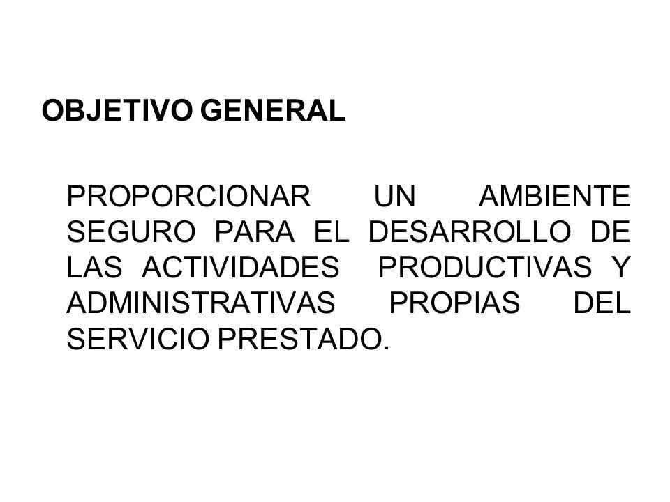 OBJETIVO GENERALPROPORCIONAR UN AMBIENTE SEGURO PARA EL DESARROLLO DE LAS ACTIVIDADES PRODUCTIVAS Y ADMINISTRATIVAS PROPIAS DEL SERVICIO PRESTADO.