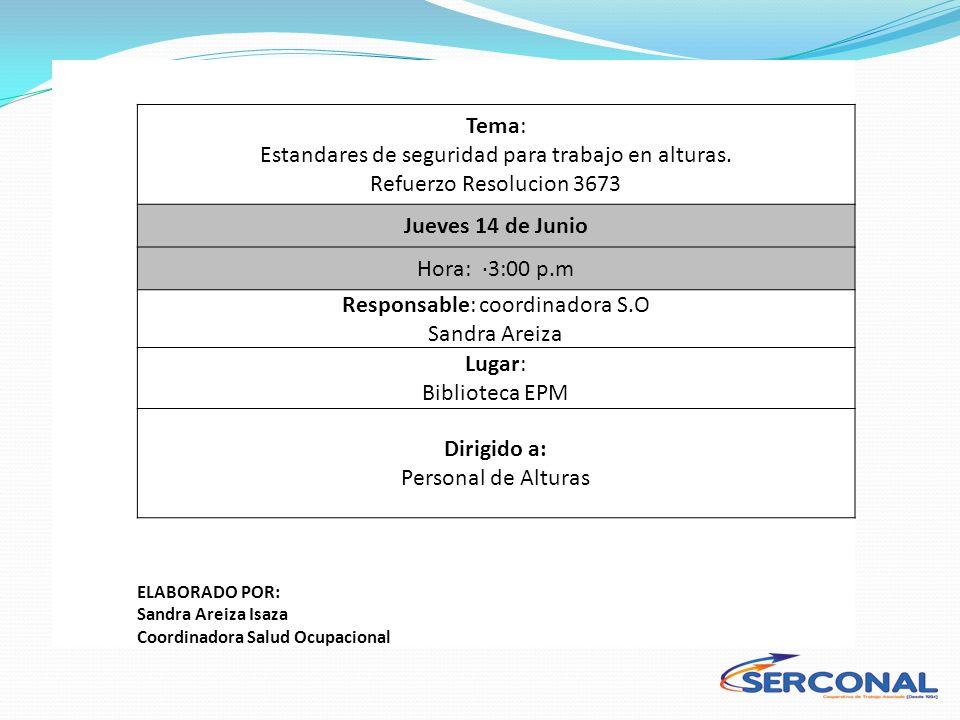 Responsable: coordinadora S.O Sandra Areiza Lugar: Biblioteca EPM