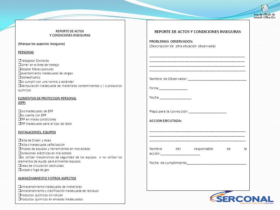 Y CONDICIONES INSEGURAS REPORTE DE ACTOS Y CONDICIONES INSEGURAS