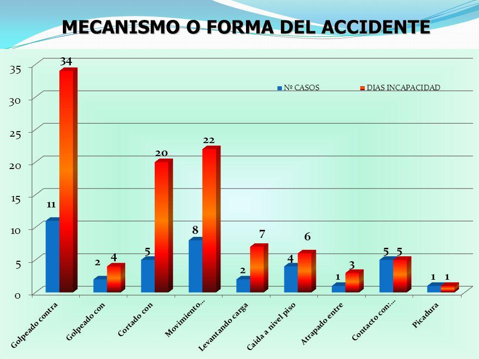 MECANISMO O FORMA DEL ACCIDENTE