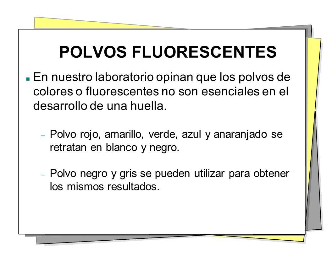 POLVOS FLUORESCENTES En nuestro laboratorio opinan que los polvos de colores o fluorescentes no son esenciales en el desarrollo de una huella.