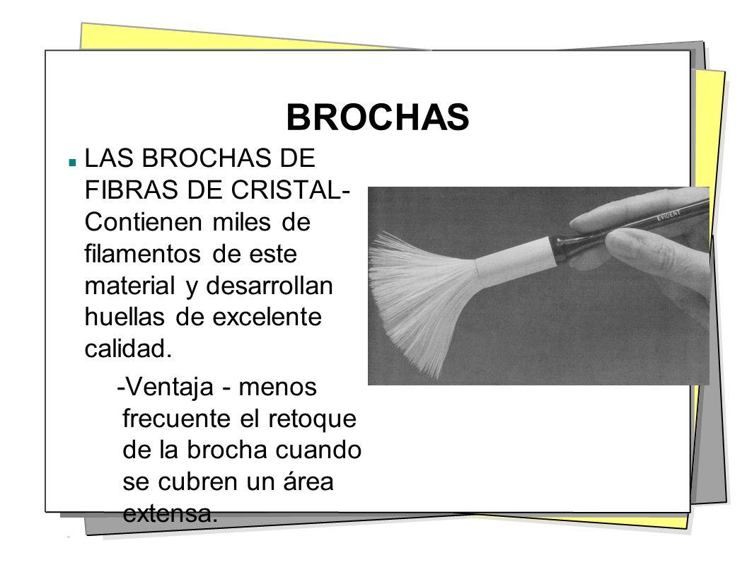 BROCHAS LAS BROCHAS DE FIBRAS DE CRISTAL- Contienen miles de filamentos de este material y desarrollan huellas de excelente calidad.