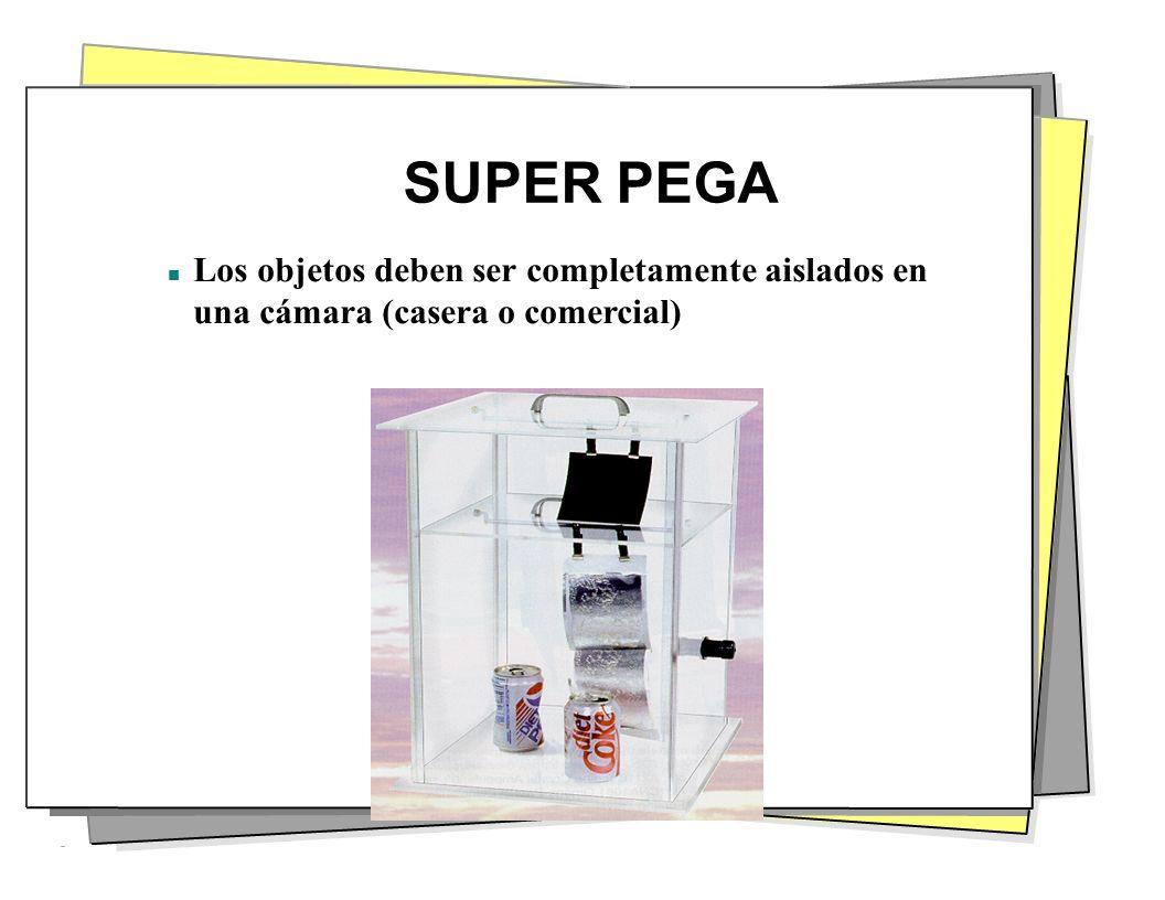 SUPER PEGA Los objetos deben ser completamente aislados en una cámara (casera o comercial)