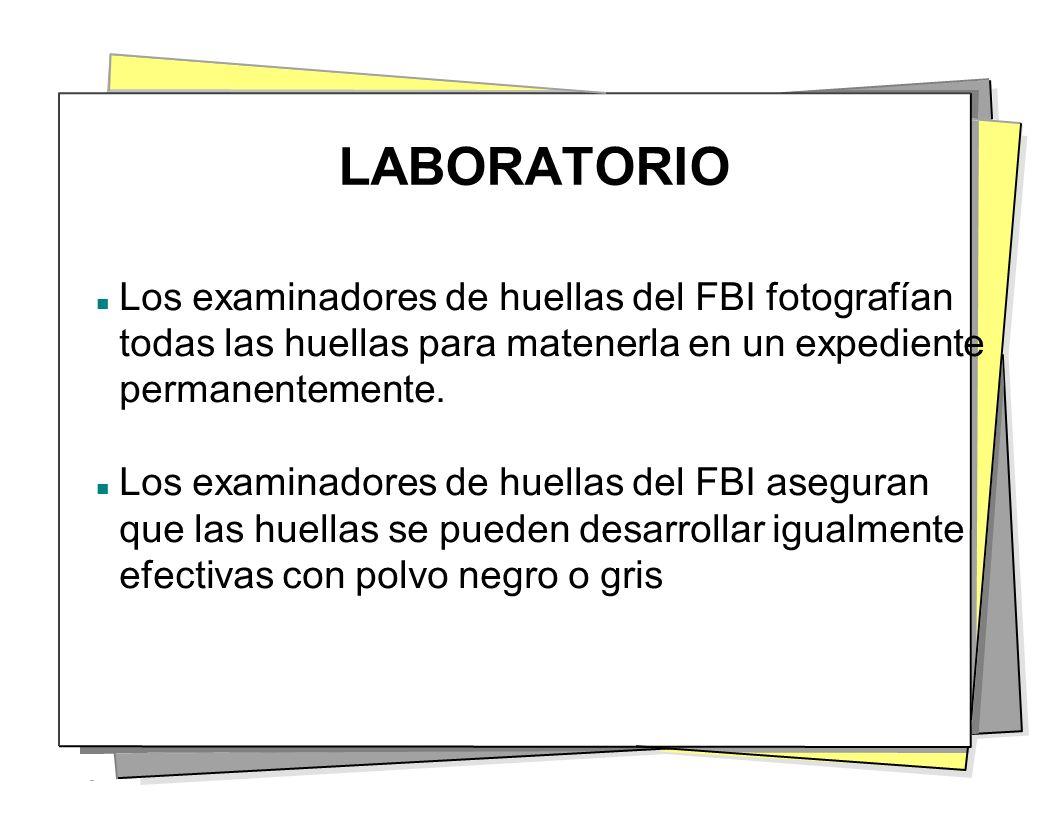 LABORATORIO Los examinadores de huellas del FBI fotografían todas las huellas para matenerla en un expediente permanentemente.