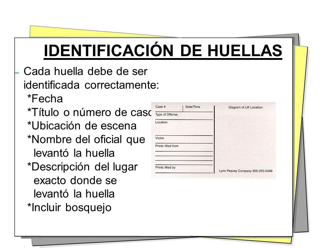 IDENTIFICACIÓN DE HUELLAS