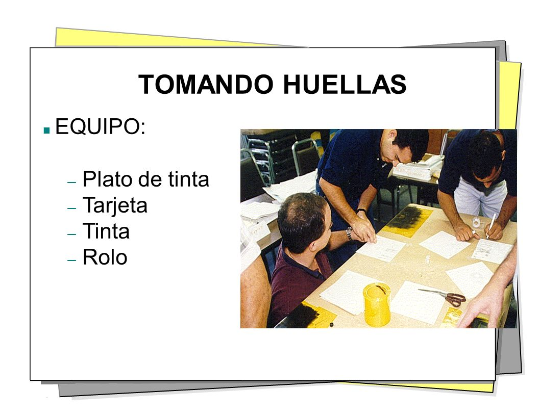 TOMANDO HUELLAS EQUIPO: Plato de tinta Tarjeta Tinta Rolo