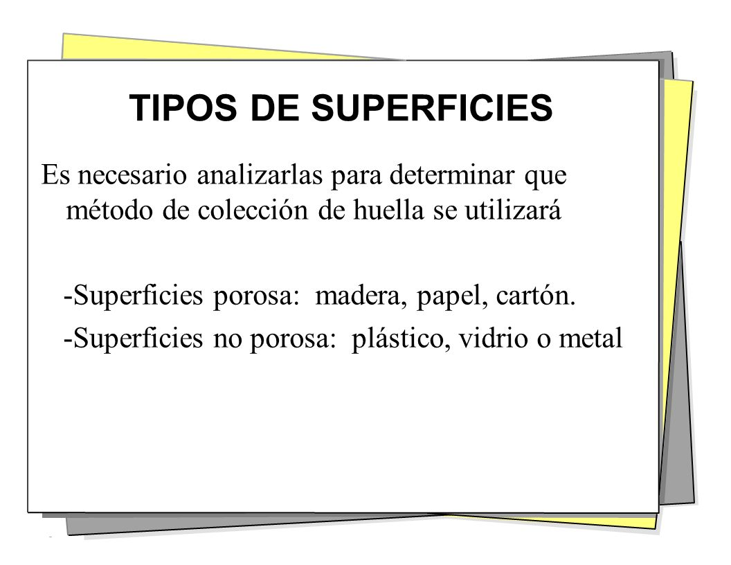 TIPOS DE SUPERFICIES Es necesario analizarlas para determinar que método de colección de huella se utilizará.
