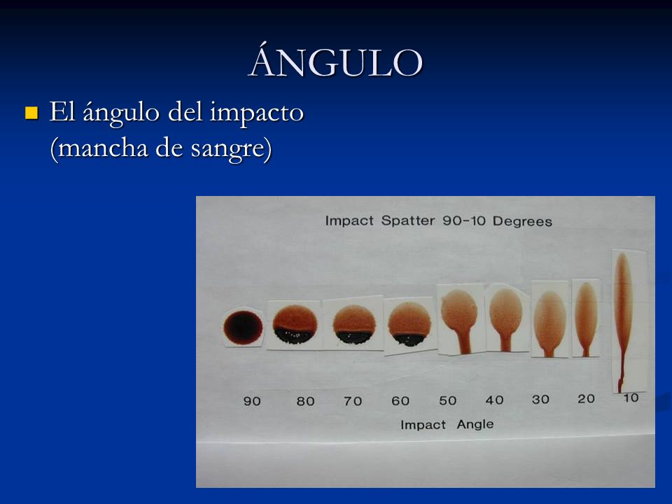 ÁNGULO El ángulo del impacto (mancha de sangre)