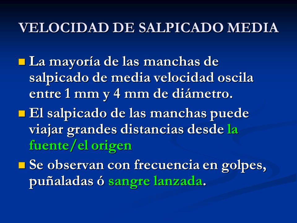 VELOCIDAD DE SALPICADO MEDIA